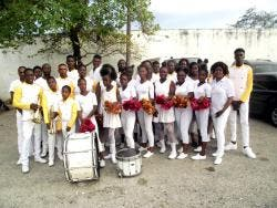 Members of the Portmore Pacesetters Marching Band.