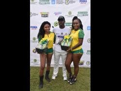 Derval Green strikes a pose with the Wray & Nephew presentation party.