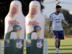 Lionel Messi warms up at a training session of Argentina's national team at the Cruzeiro training centre in Belo Horizonte, Brazil, on Monday.
