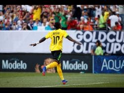 Jamaica's Darren Mattocks celebrates after scoring Jamaica's only goal against Panama in the quarter-final.