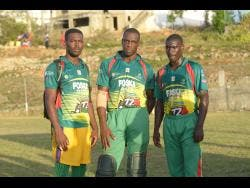 Cousins (from left) Anthony Walters, Jermaine Chisholm and captain Sheldon Pryce, of Gayle Cricket Club in St Mary, champions of the SDC/Wray and Nephew National Community Cricket competition.