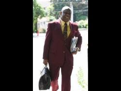 Jamaica Anti-Doping Commission legal representative Ian Wilkinson arriving for the anti-doping hearing between his client and sprinter Briana Williams at the Eden Gardens Wellness Resort and Spa in St Andrew, yesterday.