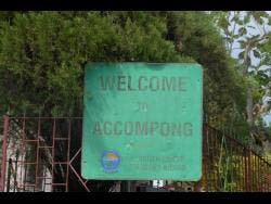 The welcome sign to Accompong