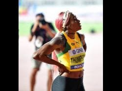 Elaine Thompson shortly after failing to secure a place on the podium in the women's 100m final at the 2019 IAAF World Championships yesterday.