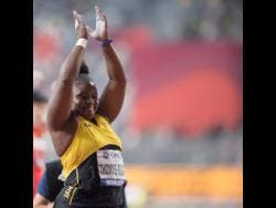 Danniel Thomas-Dodd celebrates second place after her final throw in the women's shot put finals at the 2019 IAAF World Championships in Doha, Qatar yesterday.