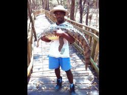 Dwayne Smith cradles a crocodile.