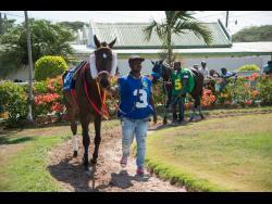 Groomsman Leon Walker parades Sir Ian Links while Keneddy Walcorr, with Black River, follows behind  at Caymanas Park on Saturday, July 13, 2019.