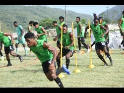 Jamaica's Reggae Boyz in a training session at the UWI/JFF/Captain Burrell Centre of Excellence at the Mona Campus on Tuesday, August 27, 2019.