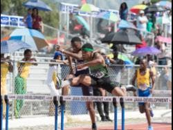 Calabar High School's Zacre Braham competes in heat two of the Class Three boys 100m hurdles at the Jamaica College/ Pure Water/Danny Williams track meet on January 4, 2020.