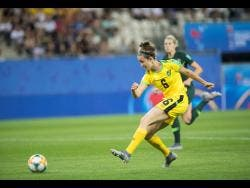 File Reggae Girl Havana Solaun shoots and scores against Australia during a FIFA Women's World Cup match in 2019.