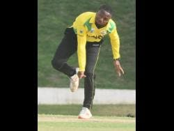 Jamaica Scorpions' Andre McCarthy in his delivery stride