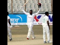 West Indies debutant Kyle Mayers celebrates his double century in the team's win against hosts Bangladesh in Chattogram on Sunday, February 7.