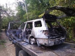 The body of Donald Oliver Mullings was found in this burnt-out car in Hanover on Sunday.