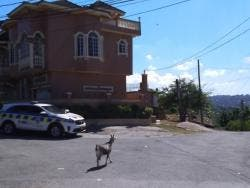 Police personnel deployed at the entrance to the community of Peace View, in Albion, St James, which has been transformed into a ghost town following the murder of a teenager, and the injuring of another by gunmen.