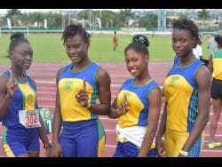 File Ruseas High School Class Three 4x100m team pose for a picture after competing at the 2018 Western Relays.