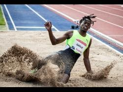 Jamaica's Tajay Gayle in action during the men's long jump at the Wanda Diamond League meet in Stockholm, Sweden, yesterday. Gayle won the event with a wind-aided jump of 8.55 metres.
