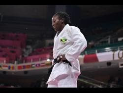 A dejected Ebony Drysdale-Daley following her loss in the Women's 70kg elimination round of judo in the Tokyo 2020 Olympics at Nippon Budokan in Japan on Wednesday.