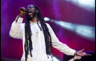 Buju Banton in performance last Saturday night at his Long Walk to Freedom Concert at the National Stadium.