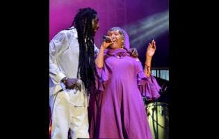 Buju Banton performs with his musical mom, the legendary Marcia Griffiths.