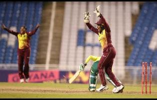 Cricket West Indies Media Photo Windies Women wicketkeeper Merissa Aguillera (right) appeals to the umpire for a run out of a South African batsman during day one of the teams's Sandals Twenty20 International Home Series at the Brian Lara Cricket Academy, in Tarouba, Trinidad and Tobago.