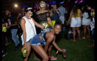 Revellers get on bad at I Love Soca at Sabina Park on Wednesday.