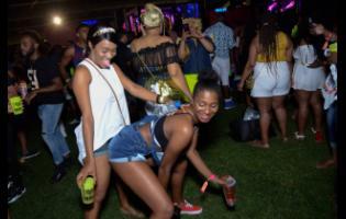 Revellers get on bad at I Love Soca at Sabina Park on Wednesday.