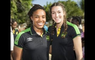National senior women's football team goalkeepers Nicole McClure (left) and Sydney Schneider.