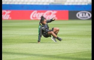 Mireya Grey shows off some dance moves at a training session yesterday.