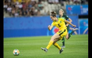 Jamaica's Havana Solaun shoots and scores in the 49th minute against Australia yesterday to become Jamaica's first goalscorer at a FIFA Women's World Cup.