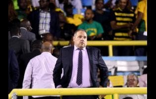 President of Concacaf Victor Montagliani watches from the stands as Jamaica down Honduras 3-2 at the National Stadium.