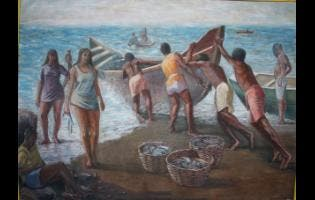 A painting titled 'The Catch'.