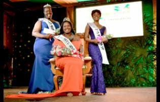 Photos By Anthony Foster 2019 St Elizabeth Festival Queen Tamara McPherson (centre) is flanked by first runner-up Omolora Wilson (left) and Asheika James, second runner-up.