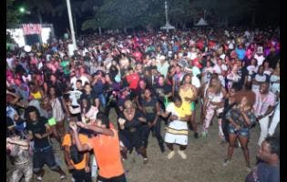 Photos By Ashley Anguin Patrons having a great time at Reggae Sumfest street dance in Montego Bay, St James, on Monday night.