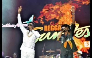 The legendary Bounty Killer (right) and Beenie Man perform for appreciative patrons at Reggae Sumfest.