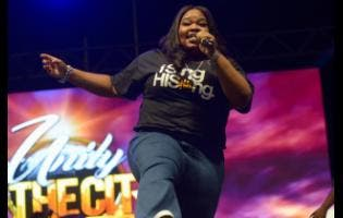 Tasha Cobbs-Leonard in performance at Unity in the City, held at the National Stadium on Saturday.
