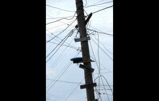 Illegal connections to a Jamaica Public Service utility pole.