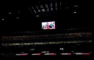 A view of the screen with images in memory of devout fan Kobe Bryant, prior to the start of the Italian Cup match between AC Milan and Torino, at the Milan San Siro Stadium, Italy, yesterday.
