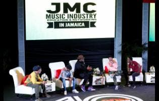 The panelists (from left) Kool Herc, Kemar Highcon, Gramps Morgan and Shaggy sit with moderator media personality Winford Williams on stage for the Evolution of the Reggae Mecca segment of the Jamaica Music Conference held at The Courtleigh Auditorium last Saturday, February 15.