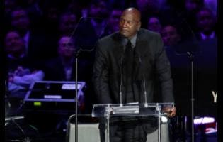 Former NBA player Michael Jordan cries while speaking during a celebration of life for Kobe Bryant and his daughter Gianna at Staples Center in Los Angeles, California, yesterday.