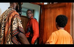 Contributed Sgt Miles (centre), played by YouTuber Kevin Swaby, takes a second glance at Pressure T (left, played by Delroy Johnson) and Miguel (Emmanuel Nunes-Chavez) in a scene from 'Your Day Is Tomorrow'.
