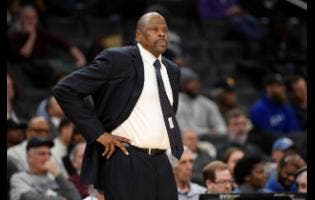 Georgetown head coach Patrick Ewing looks on during the first half of an NCAA college basketball game against Seton Hall in Washington on Wednesday, February 5.