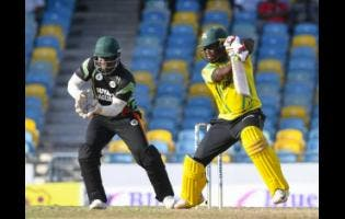 Nkrumah Bonner hits a four during the first semi-final match of the Super 50 Cup between Guyana Jaguars and Jamaica Scorpions on Thursday, October 25, 2018 at Kensington Oval.