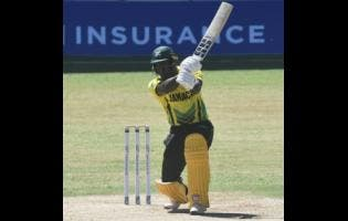 Jamaica Scorpions' Rovman Powell gathers runs during his innings of 43 against the Red Force on February 11, 2021.