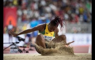 File Chanice Porter competes in the women's long jump final at the 2019 IAAF World Athletic Championships, held at the Khalifa International Stadium in Doha, Qatar, in October 2019.