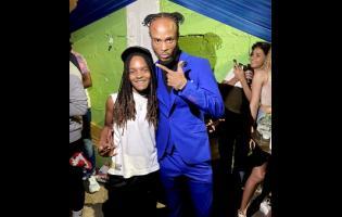 Dancehall artiste Kyodi (right) with Grammy-winning reggae star Koffee.