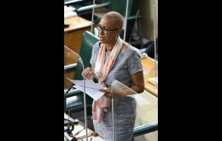 Education Minister Fayval Williams addressing Parliament on Wednesday.