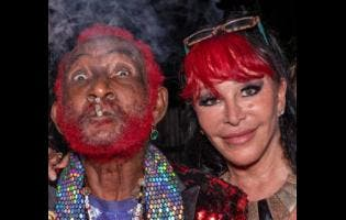 Lee 'Scratch' Perry (left) and his wife Mireille during his 85th birthday celebration earlier this year.