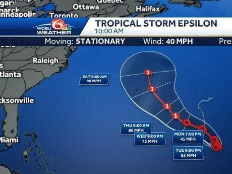 Tropical Storm Epsilon forms in the central Atlantic