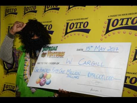A RECENT JAMAICAN LOTTO WINNER IN DISGUISE WHEN COLLECTING WINNINGS!