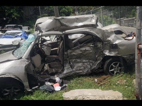 One Of The Vehicles Involved In Fatal Crash That Occurred Along Hopewell Main Road Hanover On Recently Five Persons Were Killed Accident
